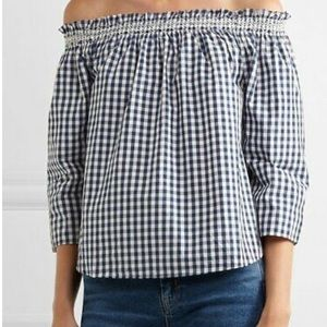 Madewell Gingham off shoulder blouse NWT Large